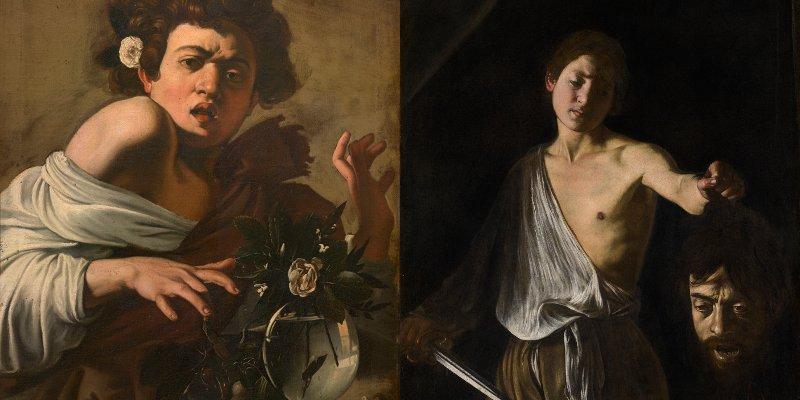 """Caravaggio. Sanguine. Barocco. Fondazione Prada. Milanoe due opere di Caravaggio esposte alla mostra """"Sanguine. Luc Tuymans on Baroque"""". Fondazione Prada"""