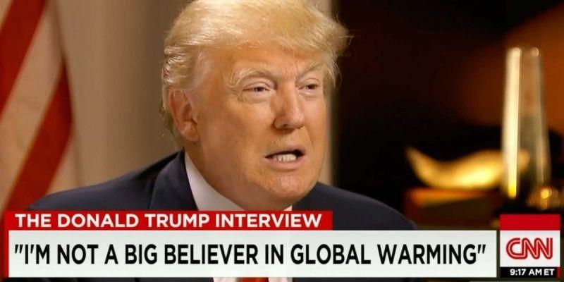 Donald Trump intervista non crede al riscaldamento globale