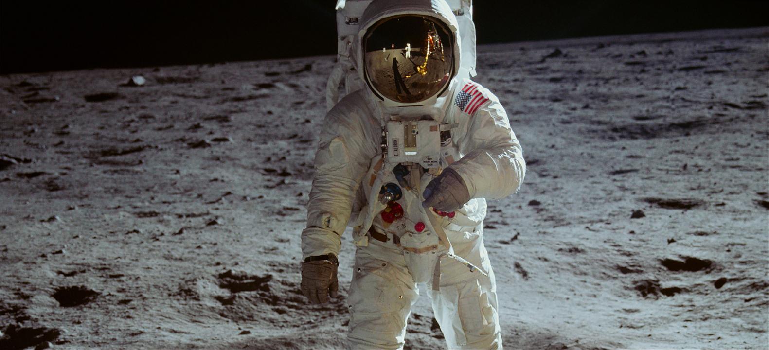 Fotografia uomo sulla luna della missione Apollo 11