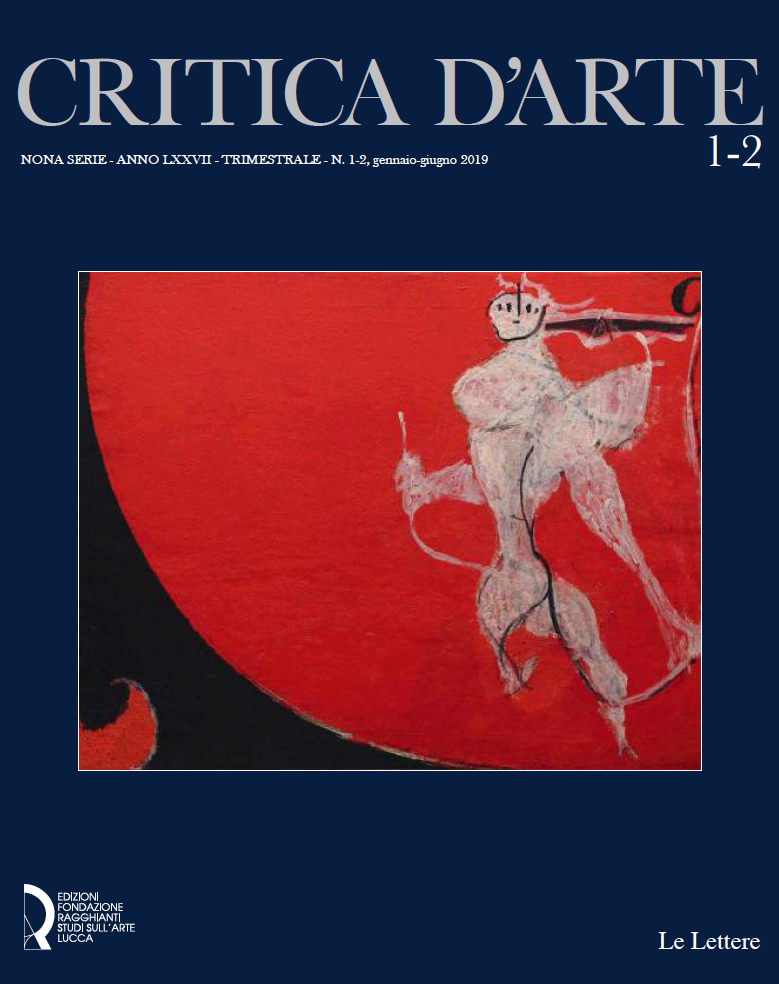 """colori, copertina del numero 1 della nuova serie della rivista """"Critica d'Arte"""", sfondo blu, in alto scritta critica d'arte, al centro dipinto di Osvaldo Licini, """"Angelo ribelle su fondo rosso scuro"""""""