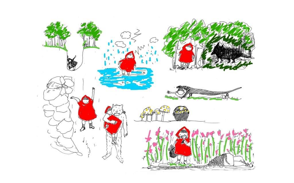 disegno in bianco e nero, colorato digitalmente, vignette con fiaba di Cappuccetto Rosso rivisitata da artista Marzia Migliora