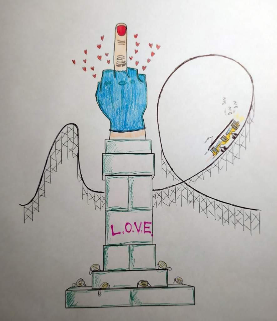 disegno bianco e nero colorato a matita, opera LOVE di Cattelan con dito medio con cuoricini, mascherine usate, guanto di lattice rotto, tram e montagne russe