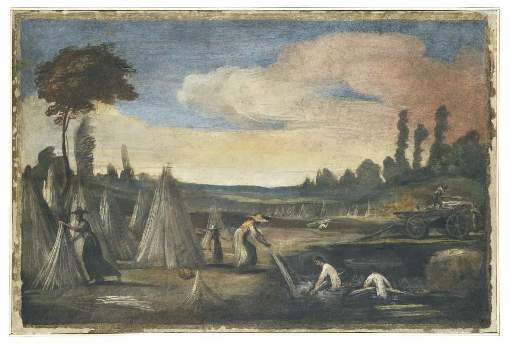 Guercino e collaboratori, Estrazione della canapa dal macero