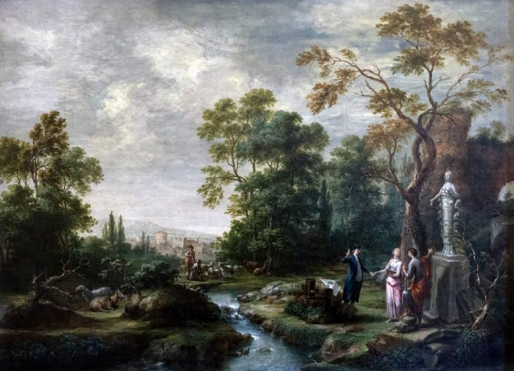 Paesaggio boschivo con dea Iside Martin Knollerc. 1701 - c. 1800