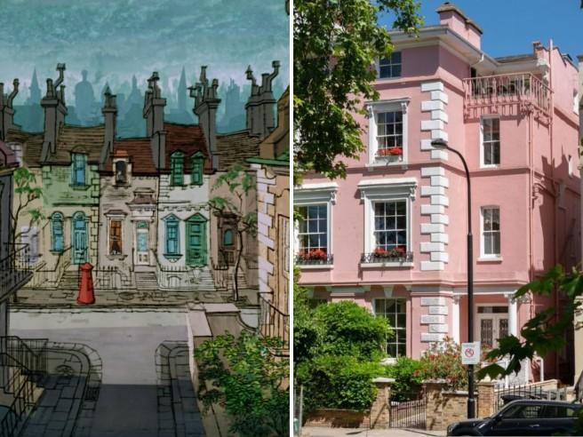 facciata della casa rosa a Londra con le grandi finestre affiancata al disegno della disnei per il cartone animato la carica dei 101
