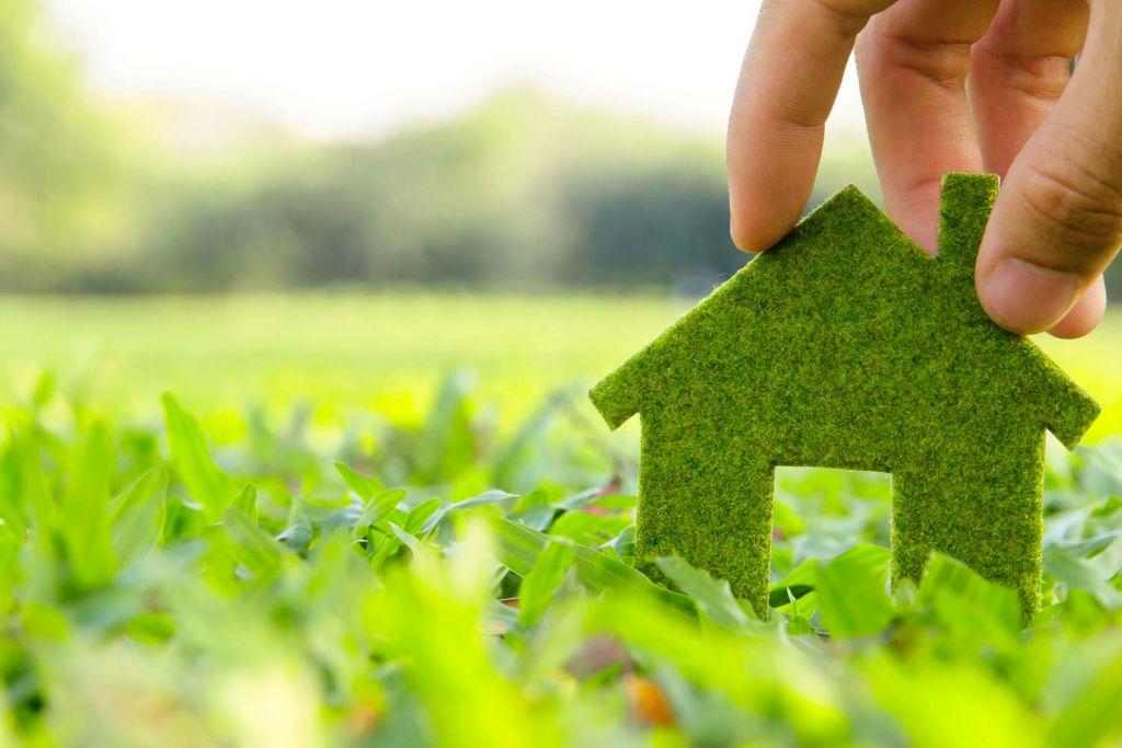 casa fatta di erba immersa nel verde tenuta da una mano