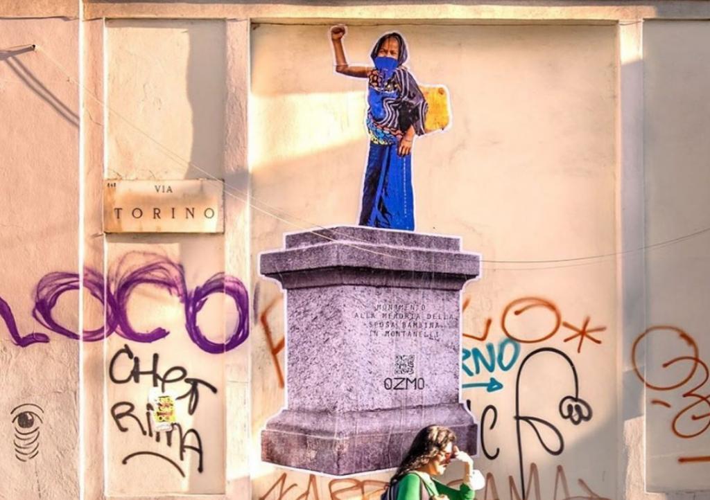 """Omaggio alla sposa bambina """"in Montanelli"""" dello street artist Ozmo"""