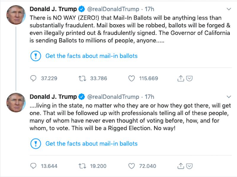 twitt di Donald Tramp segnalato da Twitter