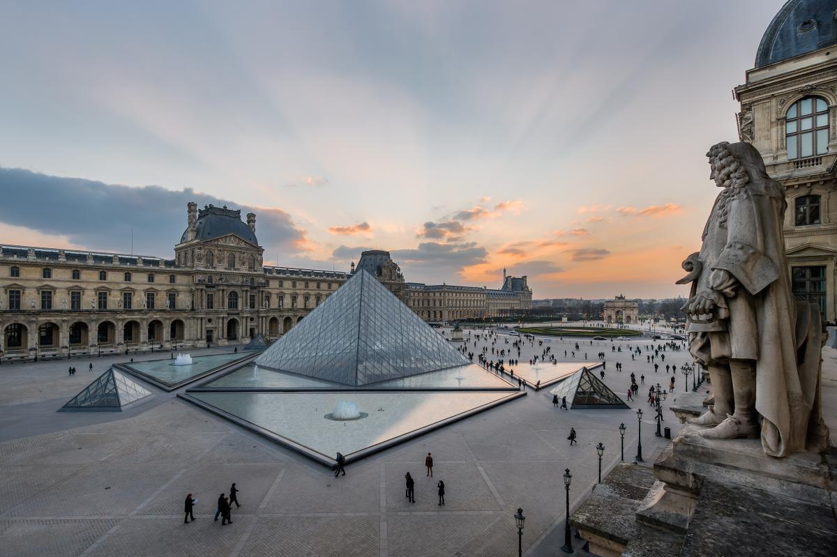 Vista dall'alto della piazza del Louvre con vista della piramide e dietro la facciata del museo