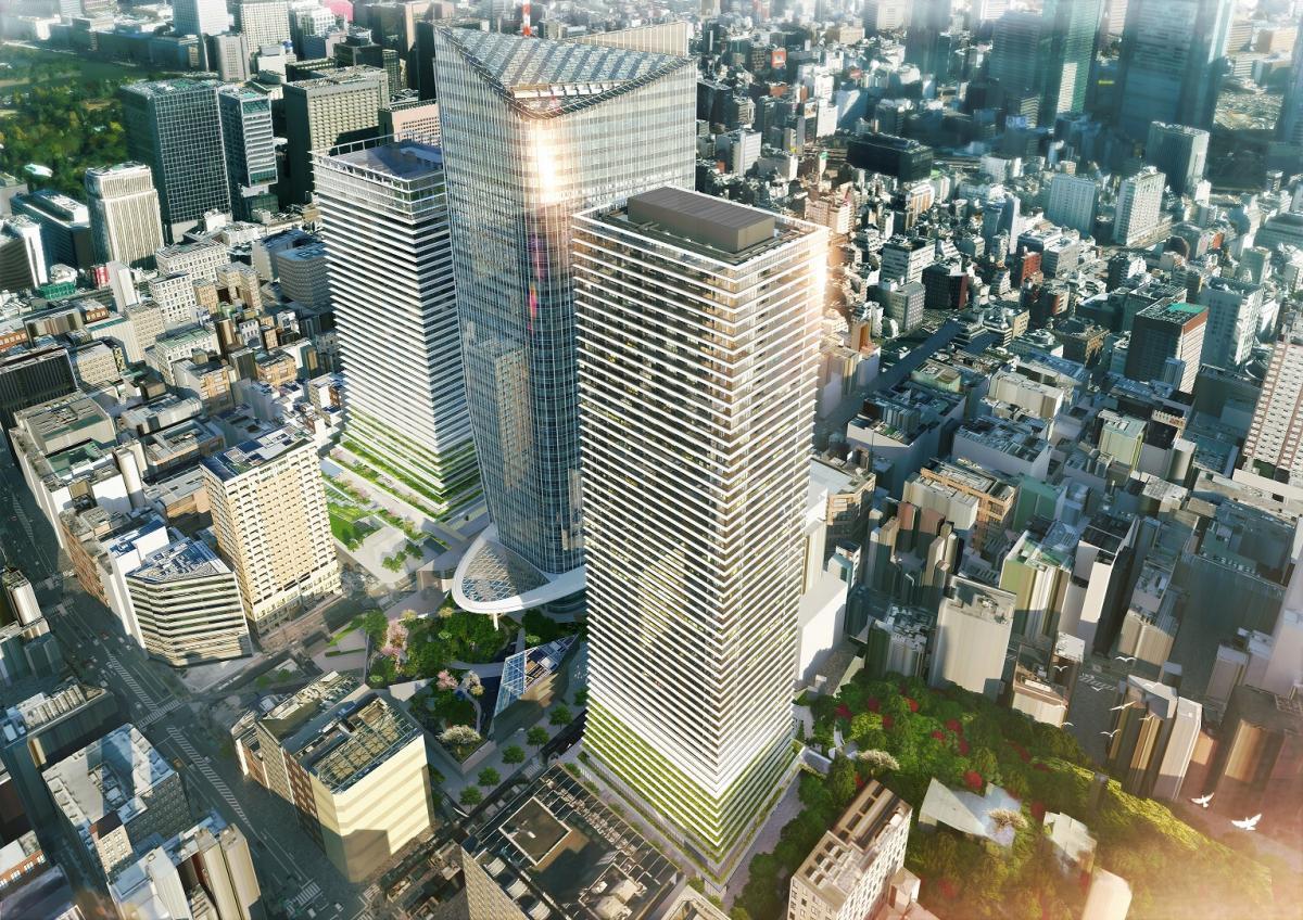 vista dall'altro della Toranomon Hills Business Tower di Tokyo