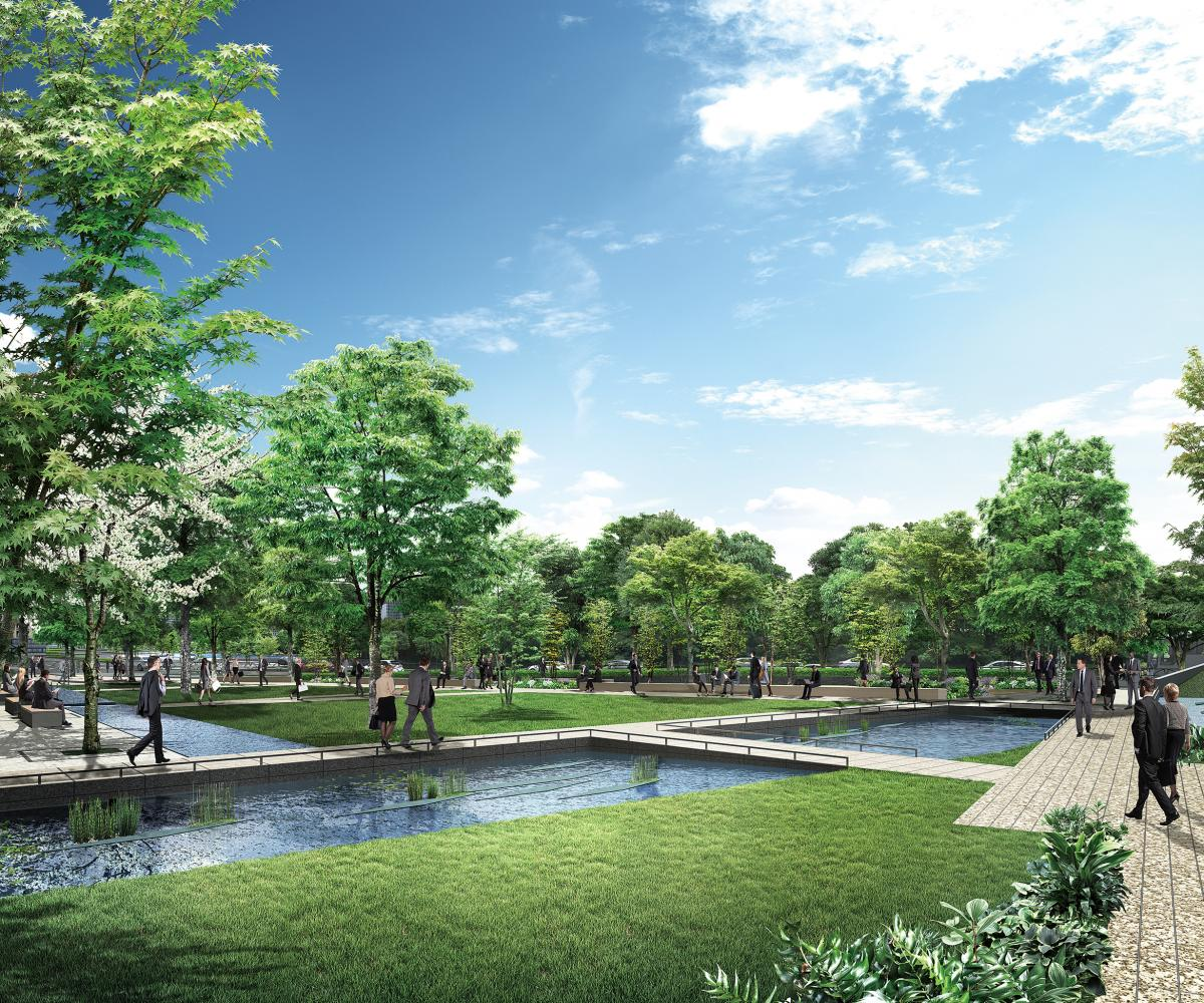 Otemachi One vista esterna con parco e corsi d'acqua a Tokyo