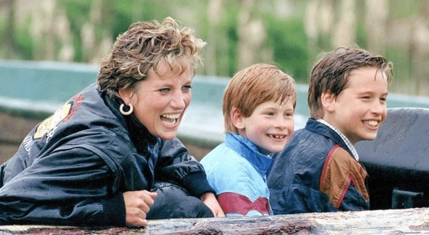 Lady Diana con i figli William e Harry