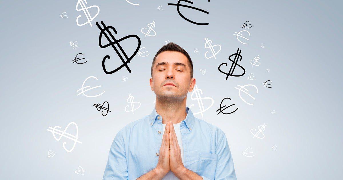una persona a tre quarti nell'atto di pregare, intorno il simbolo dei soldi