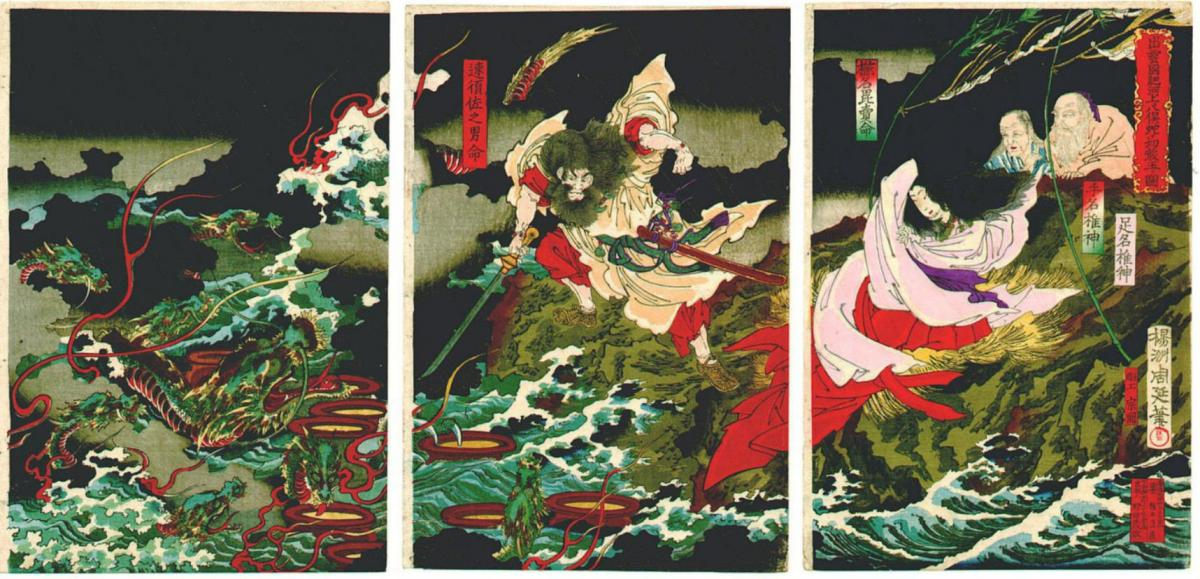 Susanoo slaying the Yamata-no-Orochi, Toyohara Chikanobu