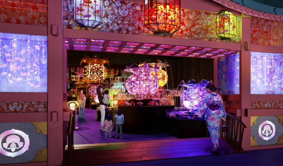 Gli acquari di Tokyo si rinnovano Art Aquarium Museum vasche con pesci rossi