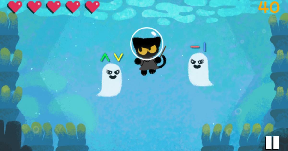Halloween il Doodle di Google inizio del gioco con il gatto e due fantasmi