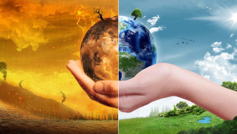 Cambiamento climatico immagine della terra mezza distrutta per il clima