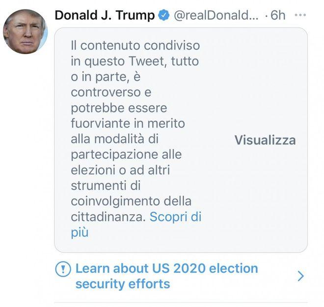 Donald Trump si autoproclama vincitore il tweet oscurato