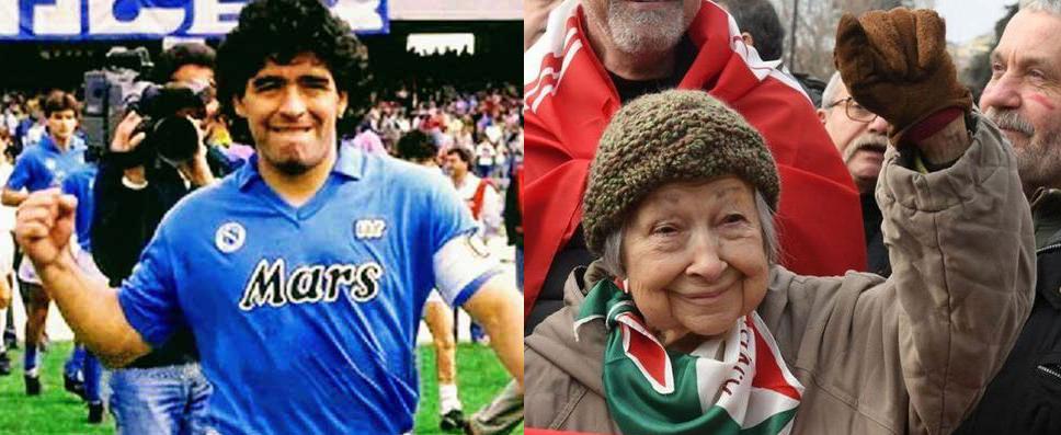 Maradona vs Lidia Menapace maradona a sinisrtra lidia a destra