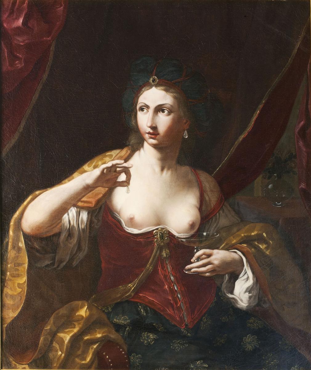 Le Signore dell'Arte Elisabetta Sirani Cleopatra, 1664, Olio su tela, 110×91 cm. Olio su tela, 141×108 cm. Collezione Privata