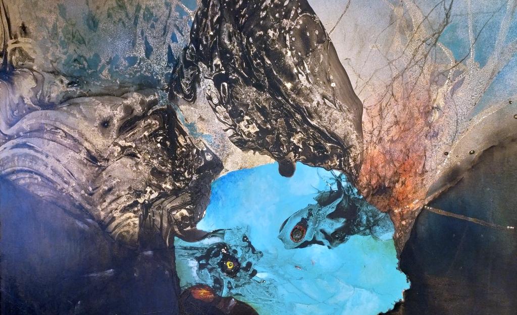Gianni Dova Milano, in mostra suo dipinto astratto, particolare macchia azzurra