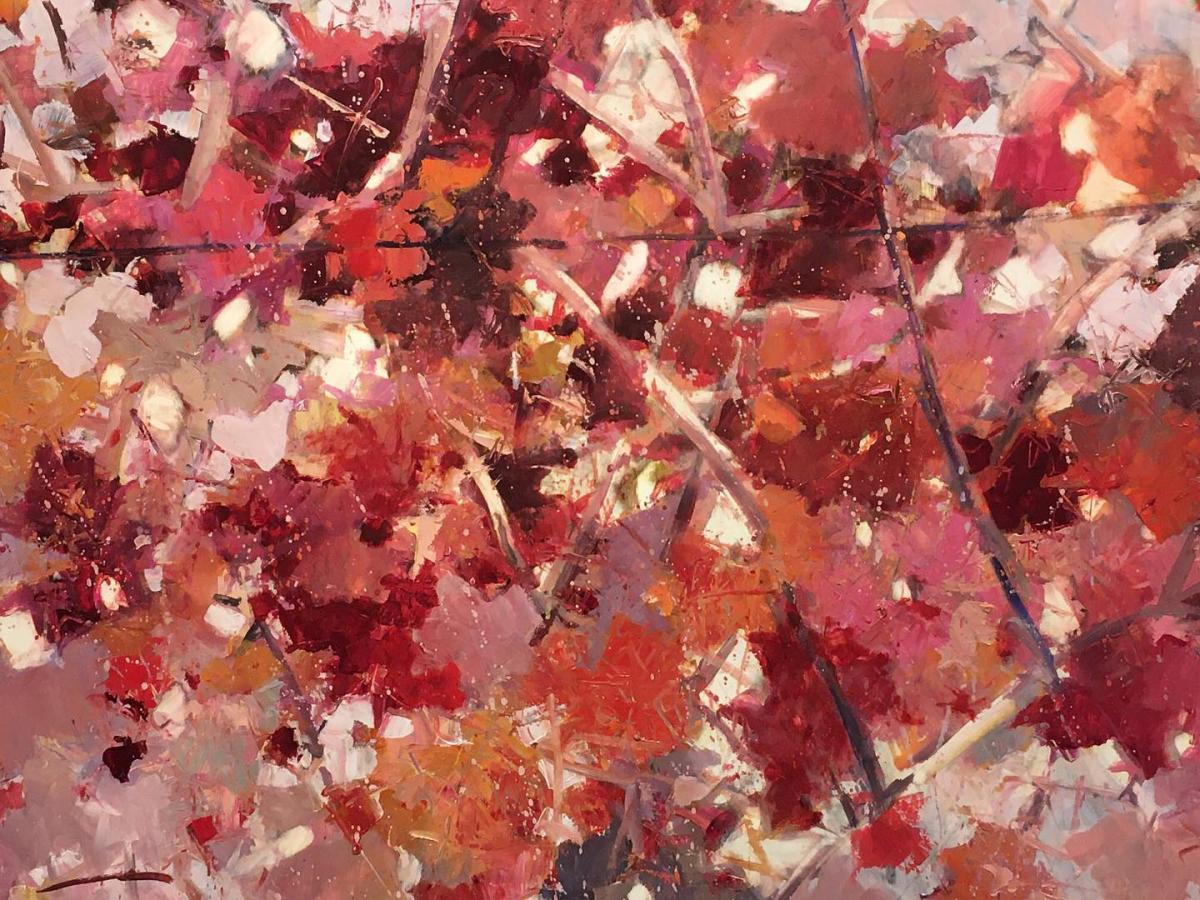 Letizia Fornasieri, dipinto con foglie di vite rossa