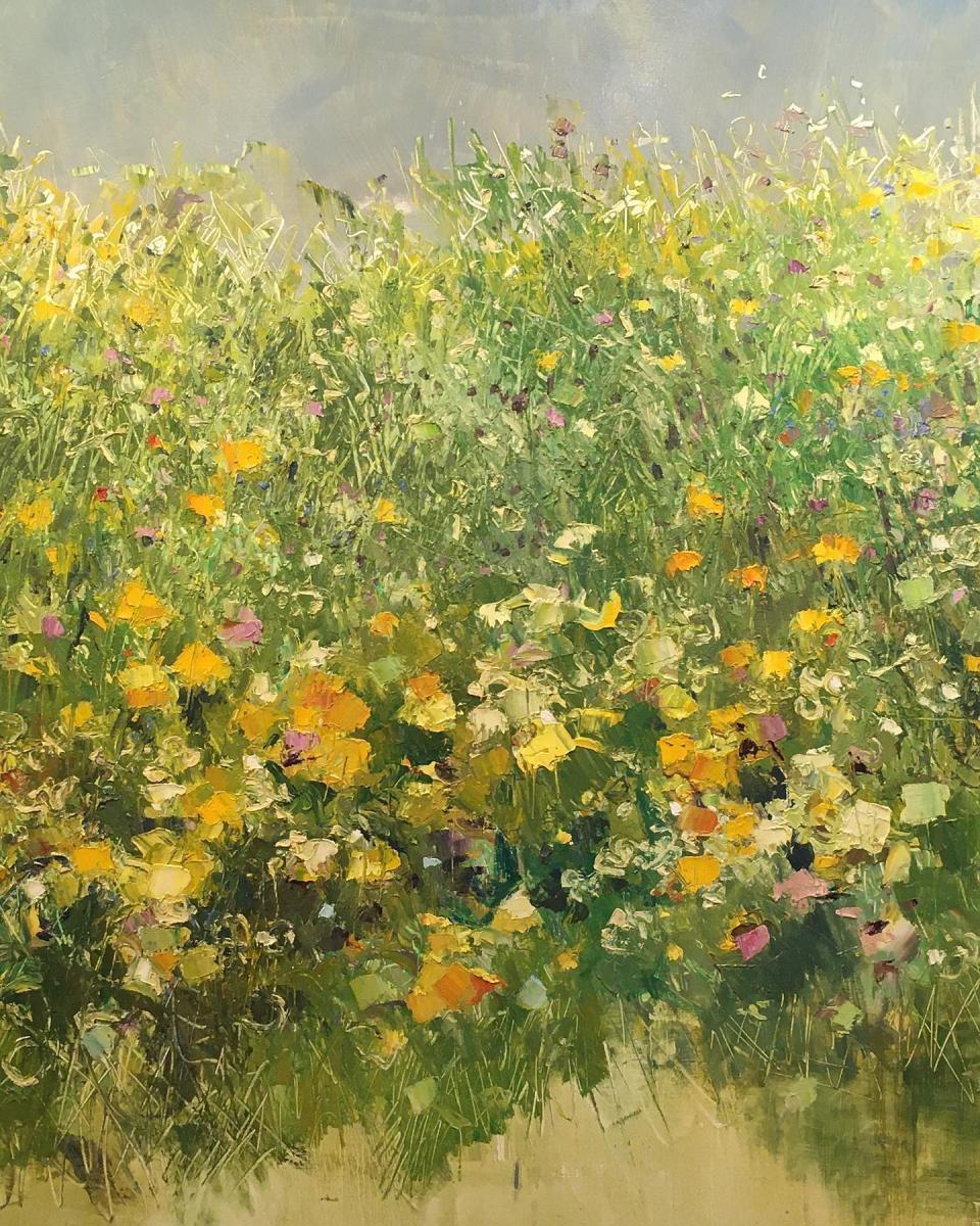 dipinto con prato verde pieno di fiori gialli