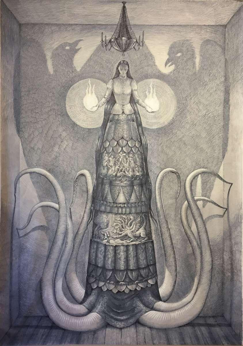 Vanni Cuoghi in mostra all'Acquario Civico di Milano Vanni Cuoghi, disegno monumentale a parete su carta