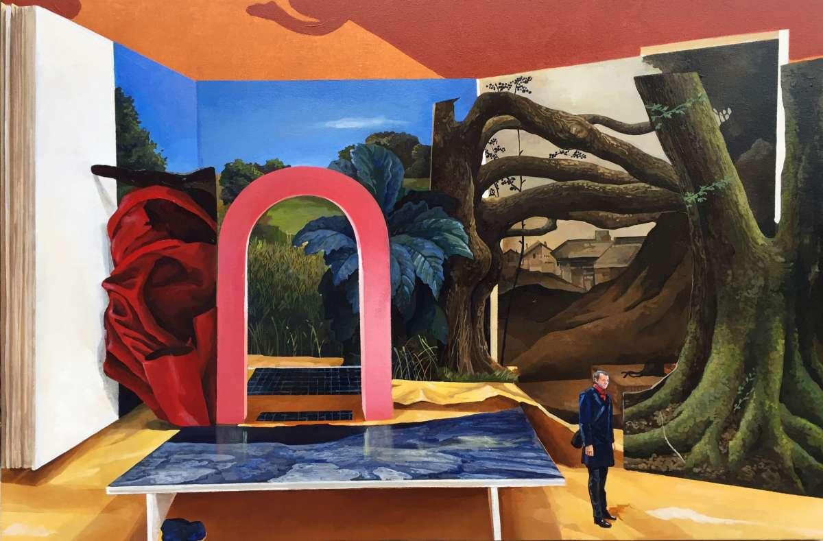 Vanni Cuoghi in mostra all'Acquario Civico di Milano dipinto con diversi elementi e oggetti come teatrino con omini piccoli