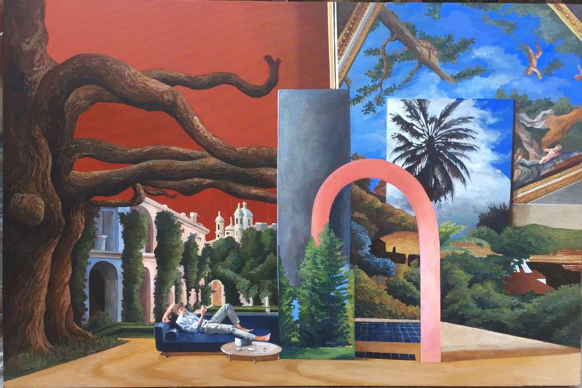 dipinto con diversi elementi e oggetti come teatrino con omini piccoli