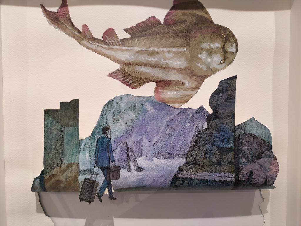 Vanni Cuoghi in mostra a milano, disegno con pesce