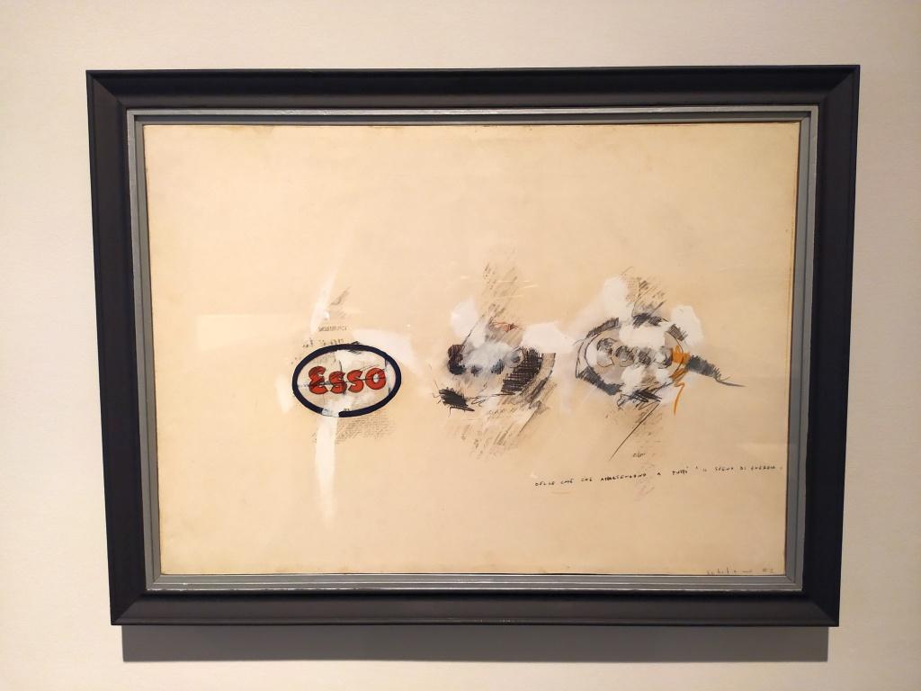 Dipinto di Maro Schifano serie ESSO in mostra a Pianeta città alla Fondazione Ragghianti di Lucca