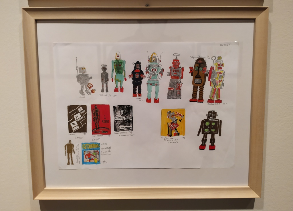 disegni di robottini giocattolo di Italo Rota, mostra Pianeta città