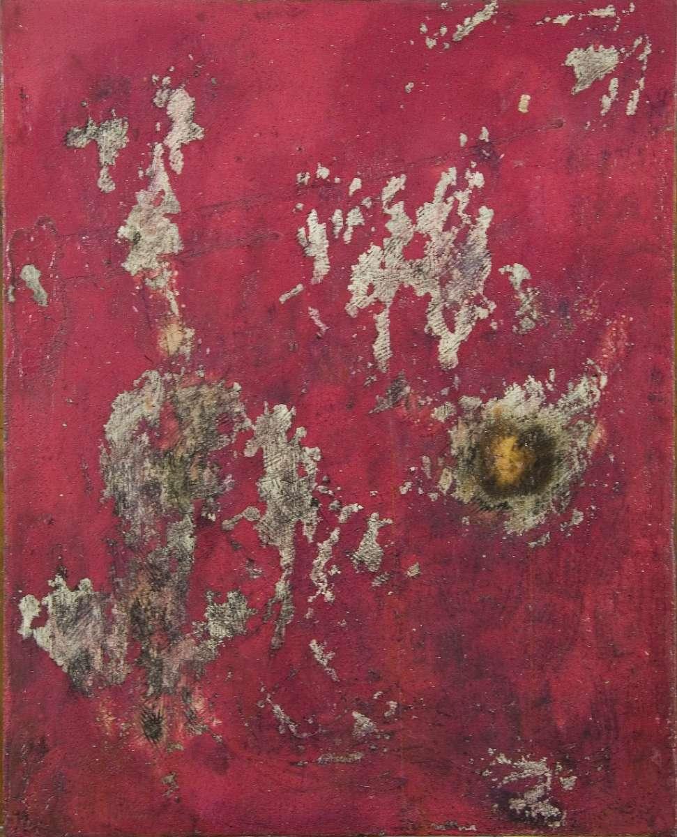 Opera di Mimmo Rotella retro di manifesto strappato rosso