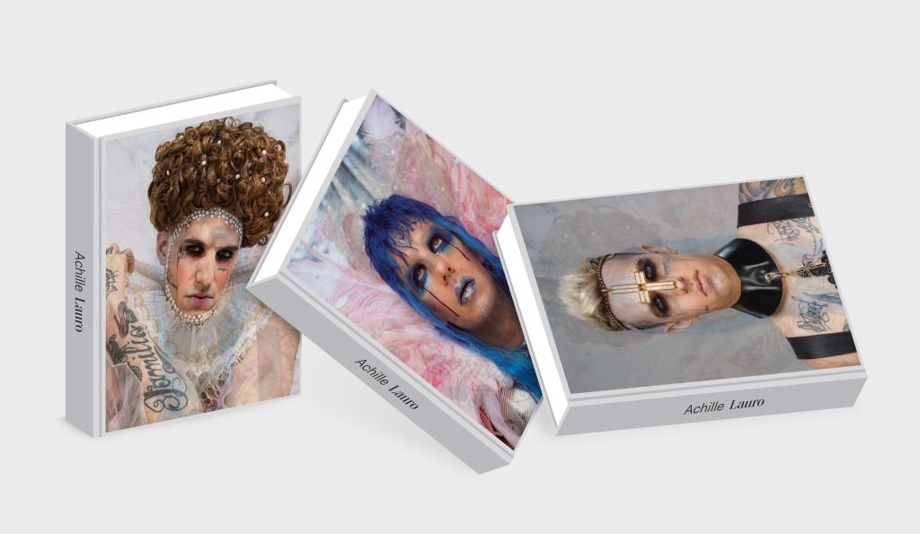 3 libri con copertine foto cantante