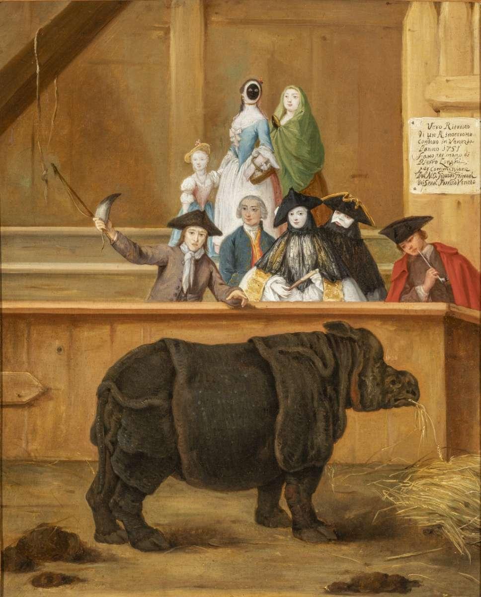 Dipinto settecentesco con personaggi mascherati che osservano un rinoceronte nel recinto