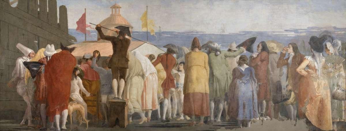 fipinto di Giandomenico Tiepolo con personaggi di spalle che osservano qualcosa di sorprendente, per il film Venezia Infinita Avanguardia